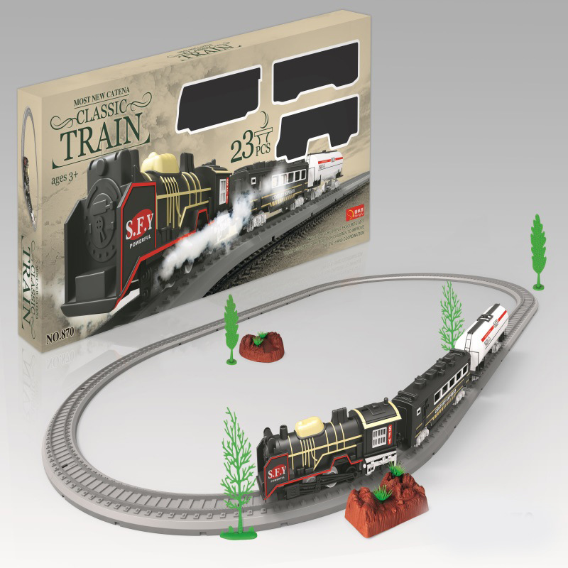 Children Model Electric Camera Track Classical Model Toy High-Speed Rail Small Train Vintage Steam Train Toy Boy