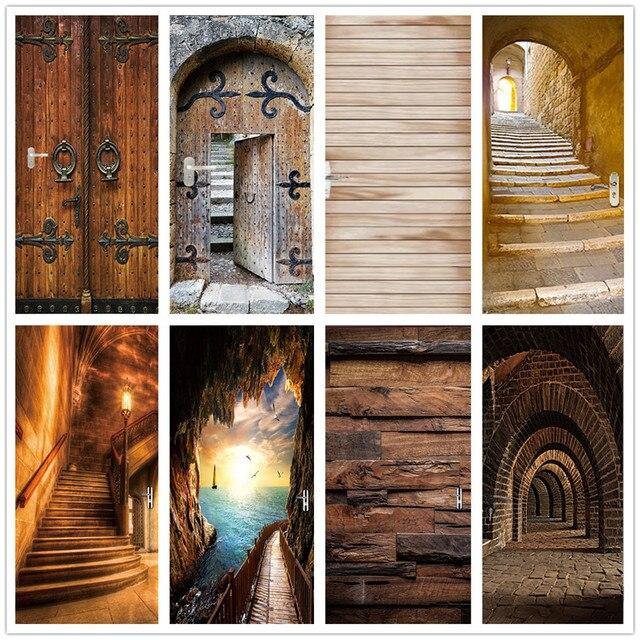 3D наклейка на дверь, деревянные водостойкие обои для дверей, гостиной, спальни, плакат, сделай сам, настенные наклейки, домашний декор, deur, на...
