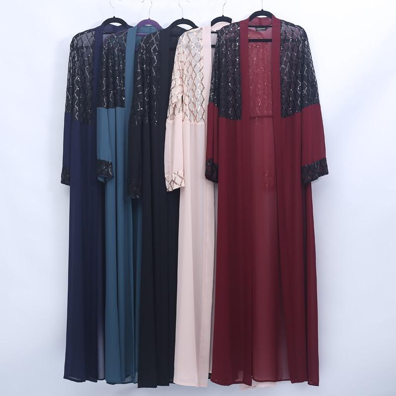 Open Sequin Abaya Turkish Kimono Muslim Hijab Dress Islamic Clothing Abayas For Women Oman Caftan Marocain Kaftan Prayer Clothes