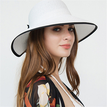 2019 Summer Fine bow Sun Hat Flat Women High end Wide side Beach Cap Brim Boater Kentucky Derby