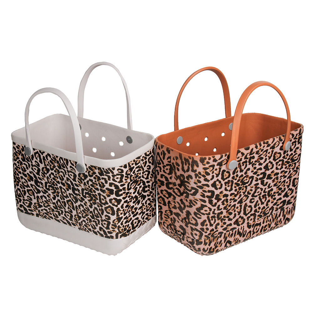 Extra Large Beach Bags Leopard Solid Color Summer EVA Basket Women Large Capacity Beach Bag Totes Dropshipping