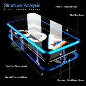Image 5 - Двухсторонний Магнитный чехол книжка из закаленного стекла на 360 ° для oppo a5 a9 2020 realme 5 pro 5i matel, защитный чехол бампер