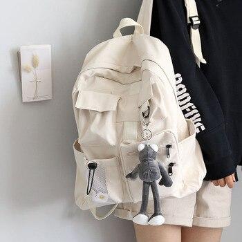 Mochila de diseño con varios bolsillos para nailon suave, adolescentes y bolsas para libros de estudiantes