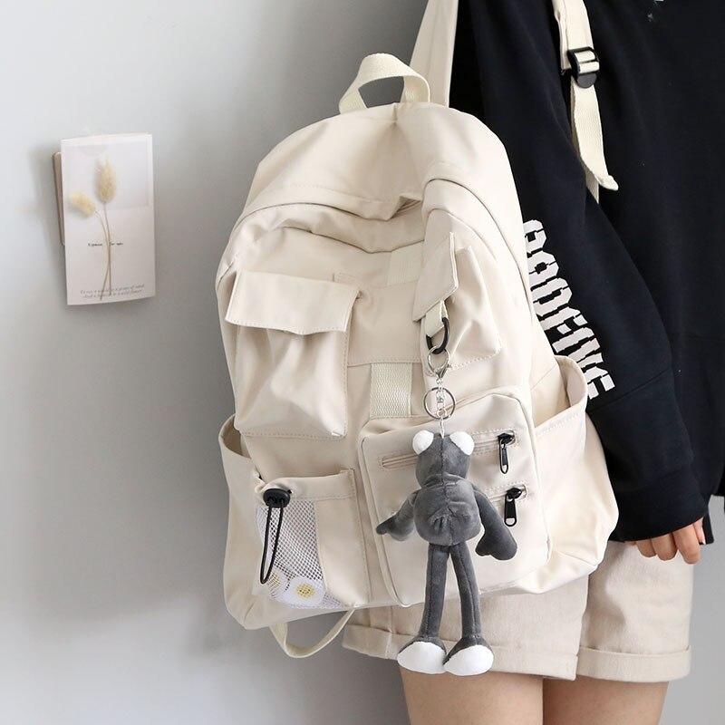 Diseño Multi-Bolsillo mochila mujer las chicas verde bolsas nailon suave Campus bolsas para libros de estudiantes para la escuela adolescente