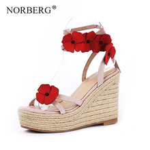 NORBERG Summer super high wedge shoes sandals fashion open toe flowers lace women large size shallow