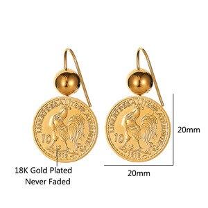 Image 2 - Винтажные висячие серьги подвески с гравировкой монеты для женщин 10 монета Франк круглая серьга Подвеска Серьги Прямая поставка