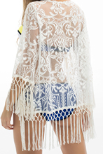 Summer Beach Blouse Women Bikini Tops Lace tunic Hollow Out Crochet Tassel Robe Cover Up Kimono Cardigan Swimsuit