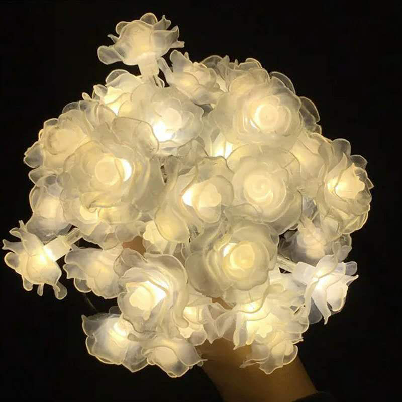 10/20/40 Led Garland Rose Light String  Holiday Fairy Lights Flower Light Lamp For Christmas Valentine Wedding Party Decoration