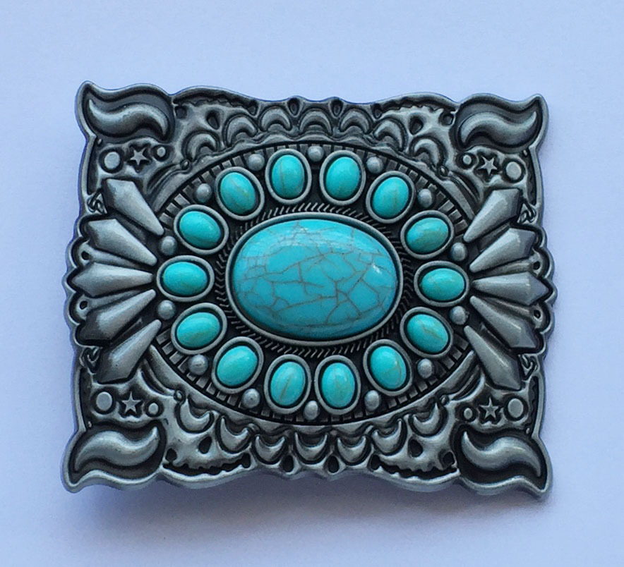Vintage Antique Silver Turquoise Belt Buckle Western Buckles For Men Women Belt Buckle