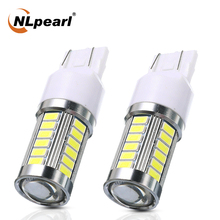 NLpearl 2x Signal Lamp 7440 W21W LED Bulb T20 LED 7443 W21/5W 5730 33SMD Car Backup Reverse Light Brake Lamp White Yellow Red