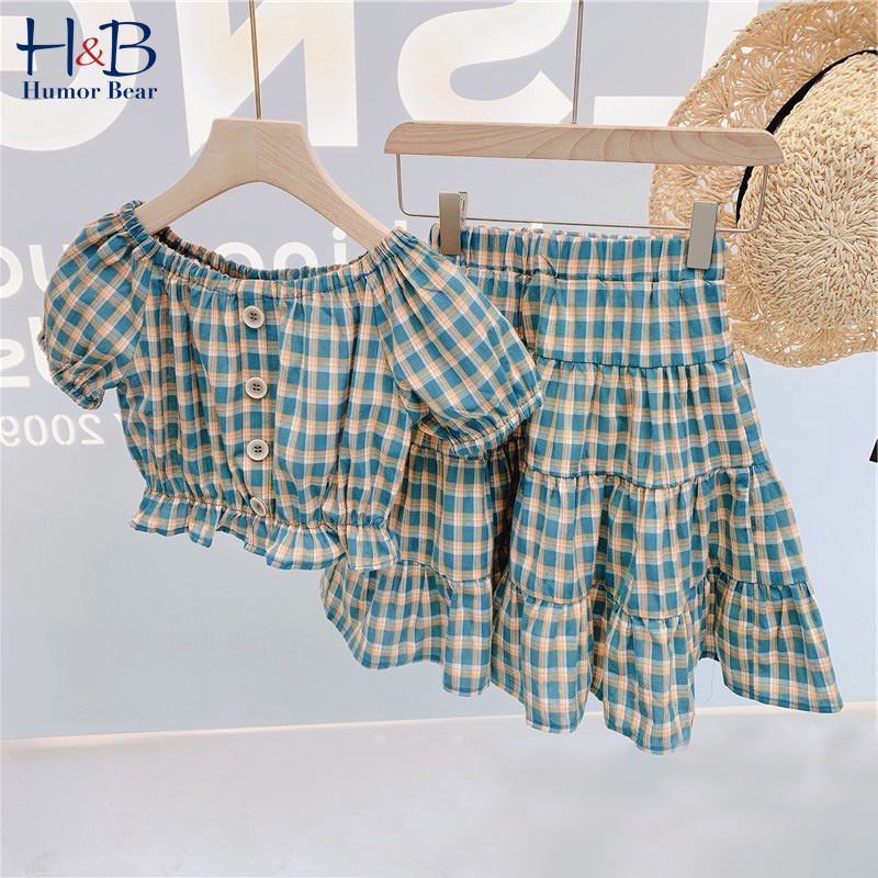 Humor urso verão meninas crianças roupas da criança novo verão 2020 menina xadrez impresso camisa + saia terno crianças 2 pçs conjuntos de roupas