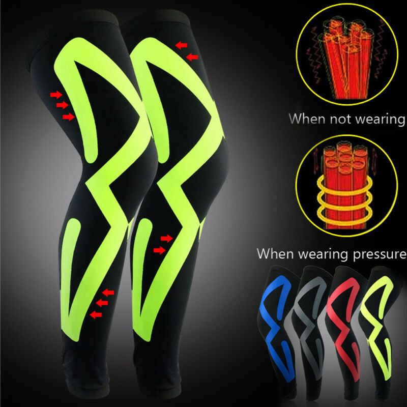 Brand New Men's Compression Full Leg Sleeve Knee & Thigh Basketball Sport Support Socks Knee Sleeve
