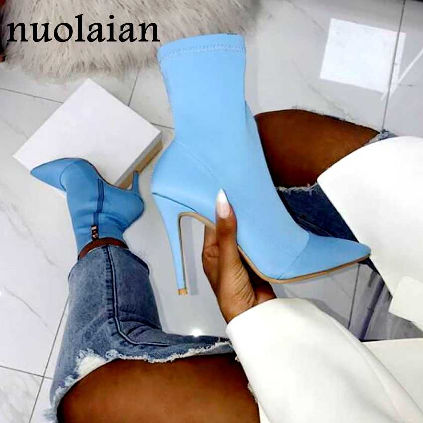 Women's Suede Leather Ankle Boots 11CM High Heel Shoes Winter Boot Woman Shoe Lady Chaussure Womens Stretch Long Boots Bottine