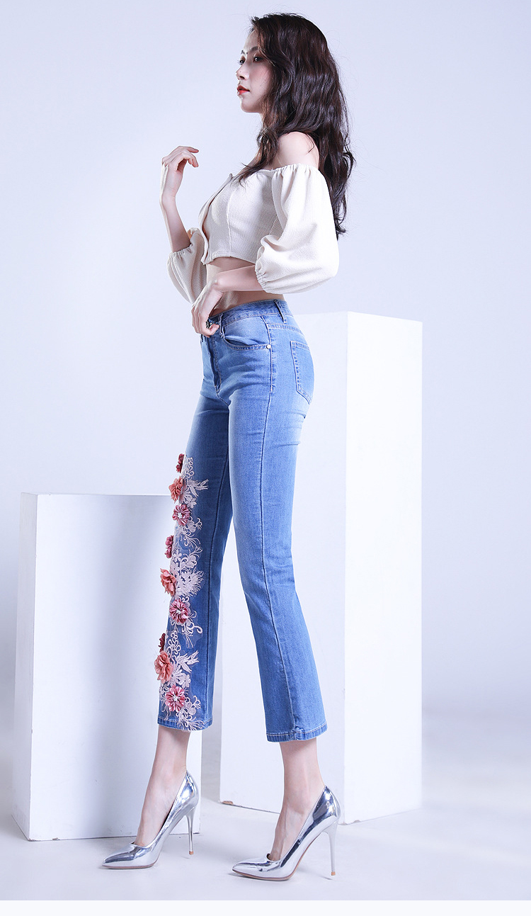 KSTUN FERZIGE women jeans cropped pants high stretch light blue spring and summer embroidery floral flares jeans mujer 2019 yong girls 15