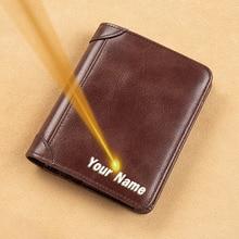 Coin Purse PORTFOLIO Genuine-Leather Card-Holder Rfid Wallet Slim Tr-Fold Small Male