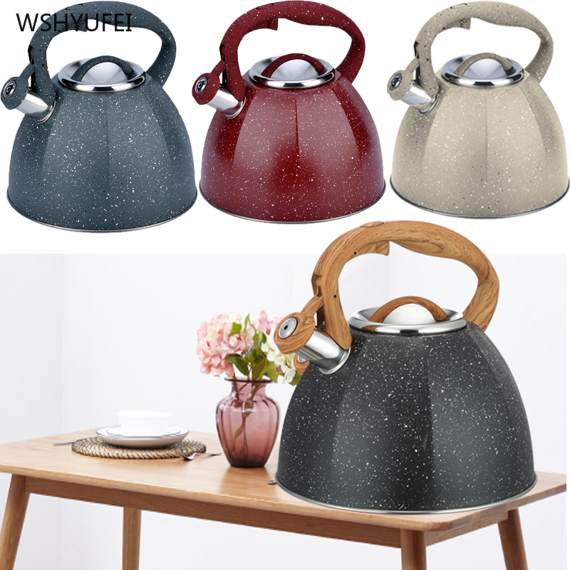 <font><b>4L</b></font> New Starry <font><b>Kettle</b></font> Teapot Stainless Steel Whistle <font><b>Kettle</b></font> Gas Cooker Metal Whistle <font><b>Kettle</b></font> Pot French Induction Cooker WSHYUFEI image