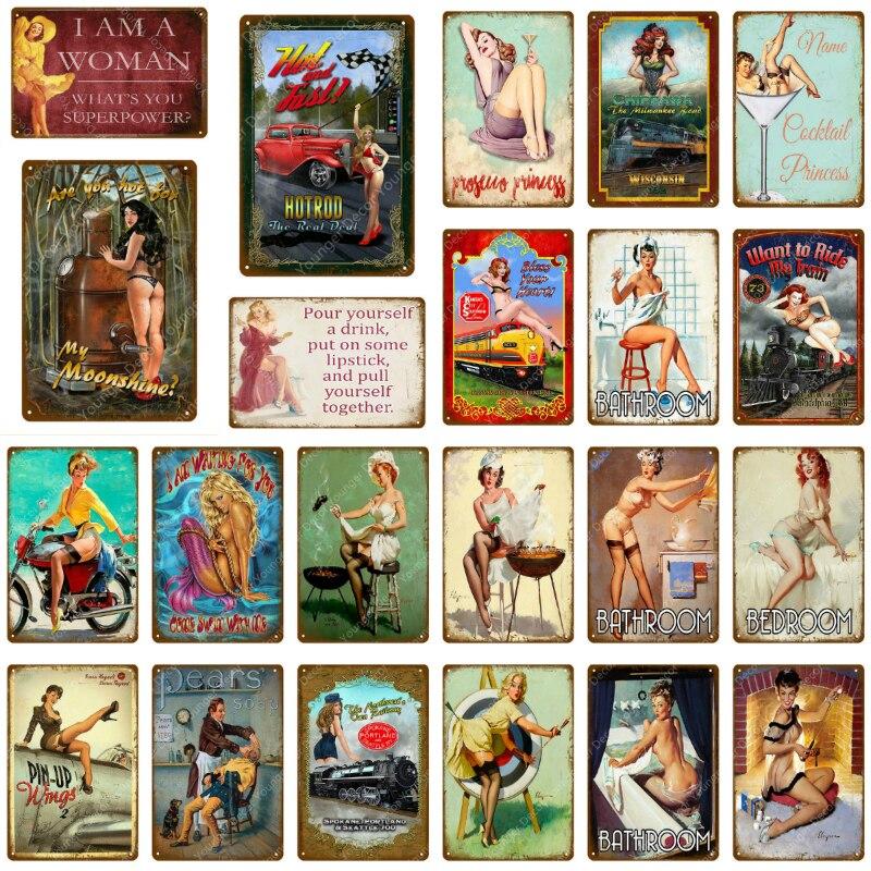 Американский ретро постер, жестяные знаки для девушек и женщин, искусство, украшение на стену, стиль ретро, кафе, бар, вечерние НКА, клуб, винт...