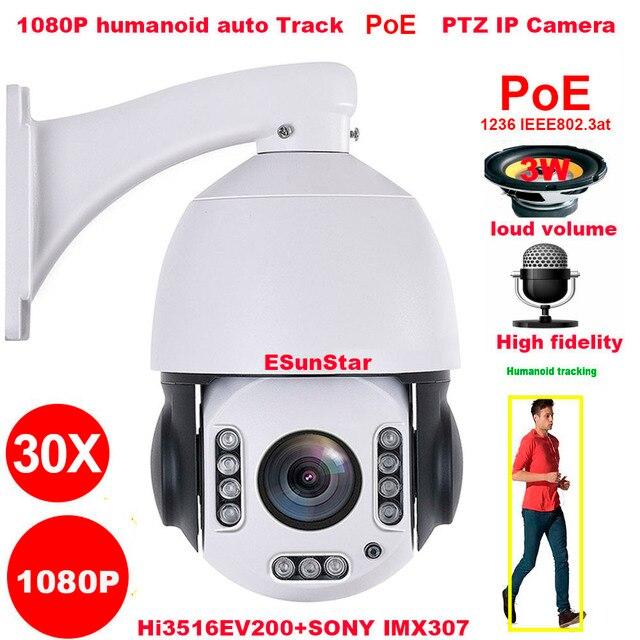 CamHi PoE 1080P 30X zoom 2MP insansı otomatik parça SONY IMX 307 PTZ hız Dome IP kamera dahili MIC hoparlör 32 64 128gb SD