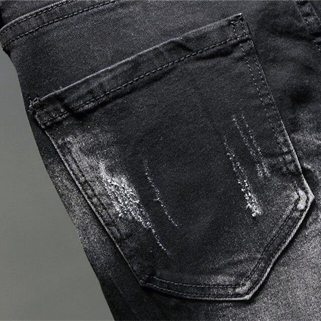 Pantalones vaqueros con Graffiti para hombre, pantalón informal de otoño, microelástico, estampado, a la moda, con personalidad 6