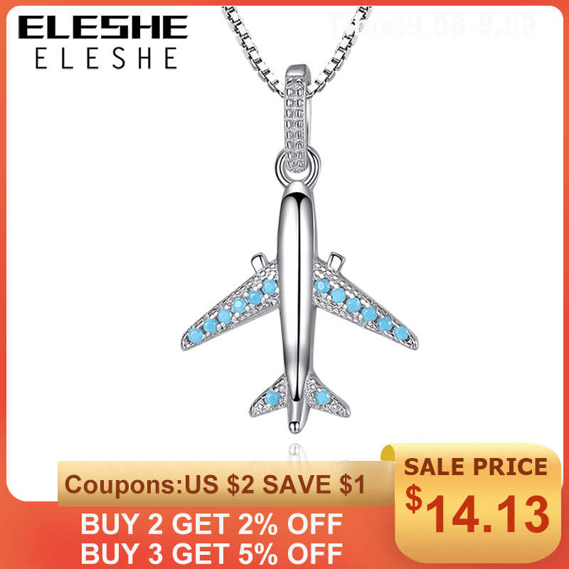 ELESHE Authentic 925 Sterling Sliver Necklace Blue Crystal Aircraft Airplane Pendant Necklace for Women Long Chain Fine Jewelry