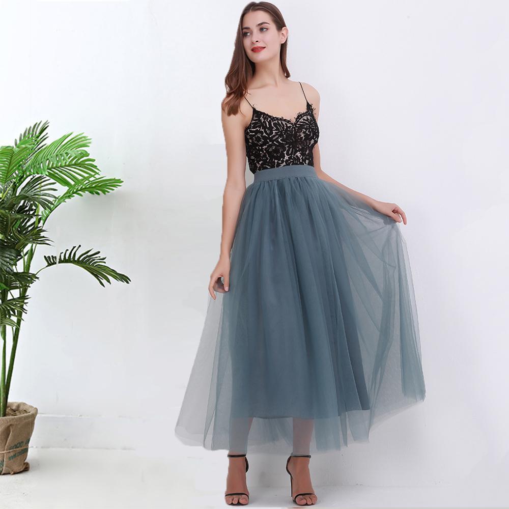 2020 Spring Summer Vintage 4Layers Skirts Womens Elastic High Waist Tulle Mesh Skirt Long Pleated Tutu Skirt Female Jupe Longue
