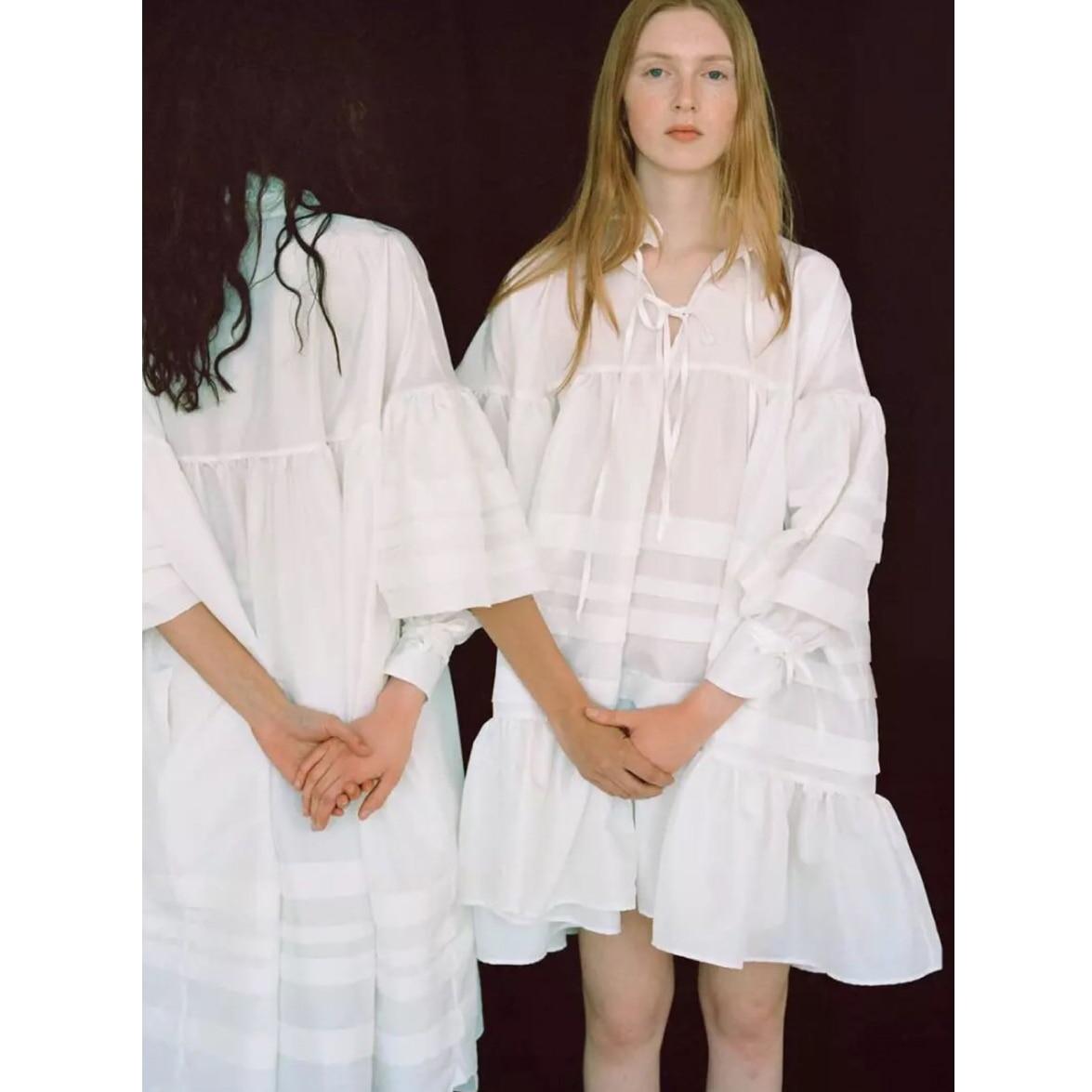 Robe plissée à col fleur en dentelle robe en popeline de coton ample décontracté décontractée à manches bonbons