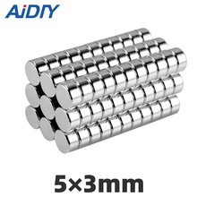 AIDIY 50/100 pcs 5x3mm permanent neodymium magnet  super strong 5 * 3 Mini small round Rare Earth Magnetic magnets Disc 5 x 3mm парогенератор с утюгом silter super mini 2035 3 5 литра