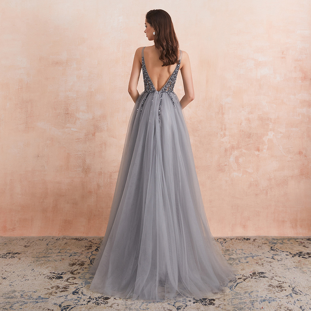 Sexy V-Neck Long Prom Dresses 2020 Beaded Beading Crystal High Splits Backless A-Line Formal Gown Party Dress 2