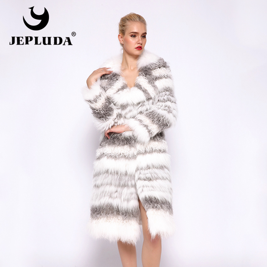 Coat Women Mongolia-Sheep-Fur Real-Fur-Jacket Natural Luxurious Warm JEPLUDA Soft Long