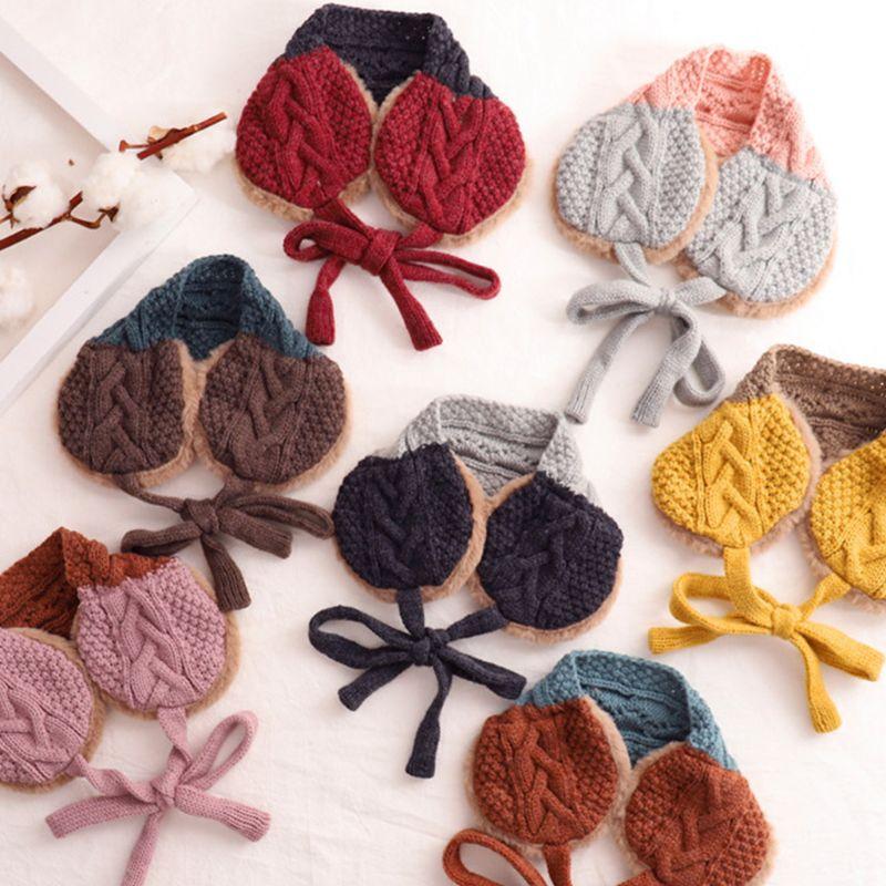 Fashion Lovely Girls Boys Earmuffs Wool Thread Children Dual-use Knitted Scarf C6UD