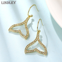 2020 new large Mermaid Tail Fishtail Pendant earrings For Women Fashion gold CZ Girls stud Earrings Necklace Jewelry Accessories