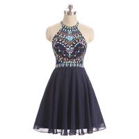 Sexy Mini Cocktail Dresses Short Black Beading Coctail Dresses For Girls Plus Size Custom Made Luxury Prom Party Dress Elegant