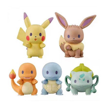 TAKARA TOMY Pocket Monster Doll Toys Bulbasaur Charmander Squirtle Pokemon Eevee Pikachu Kids Gifts Model Toy 5pcs/set