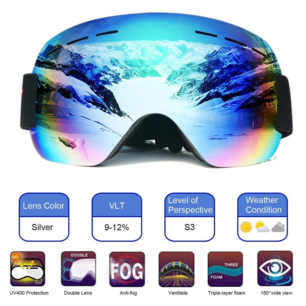 Лыжные очки для сноуборда, лыжные очки, спортивные очки для взрослых, анти-туман, УФ, двойные линзы, песочные, большие сферические очки для мужчин и женщин