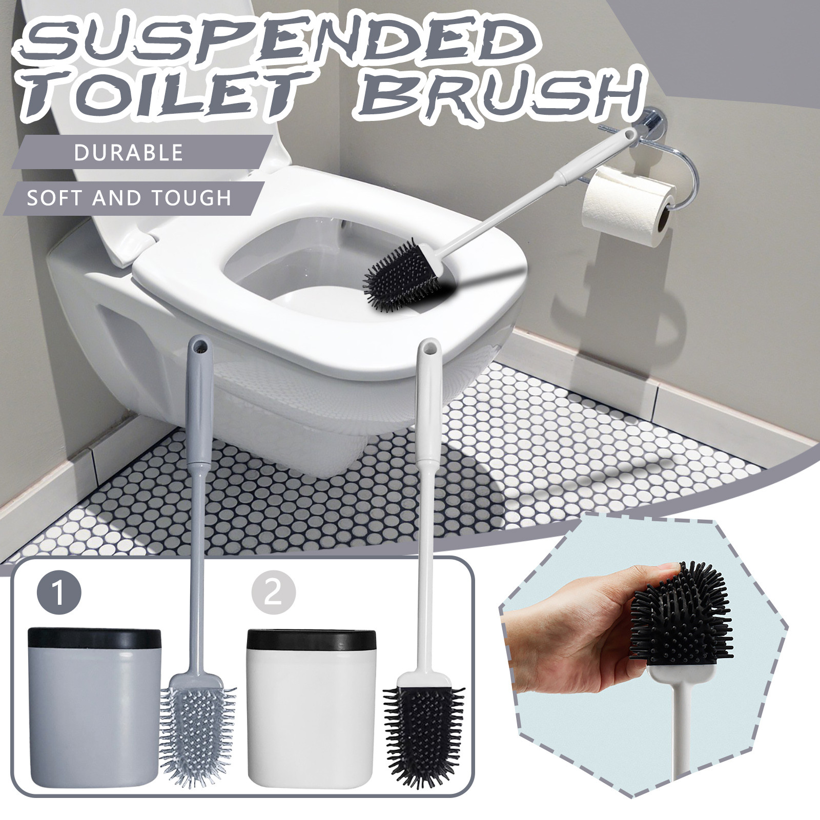 Silicone Bristles Toilet Brush and Holder for Bathroom Storage and Organization Compact Wall Hang Cleaning Kit WC Accessories
