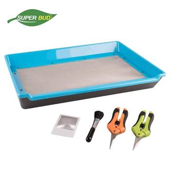 SUPER BUD HARVEST Trim Tray Trimming Bin Set for Buds and Herbs 150 Micron Screen Pollen Sifter Kief Collector Grow Kits