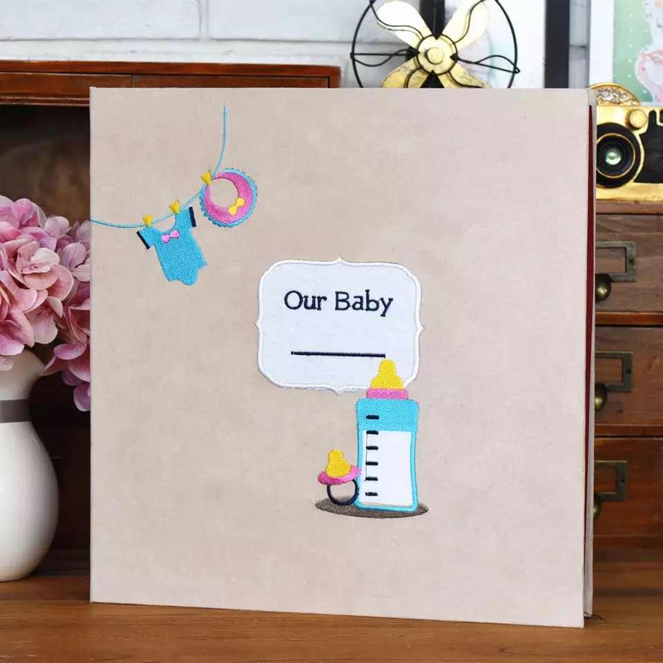 Embroidery Suede Cover Black Sheets Self-adhesive Film Paste Type Photo Album Baby Growth DIY Album Fotografico Sticky Type