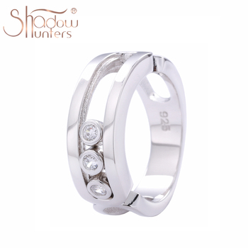 SHADOWHUNTERS Real 100% 925 Sterling Silver Move Stone Women Wedding Rings Jewelry Wholesale