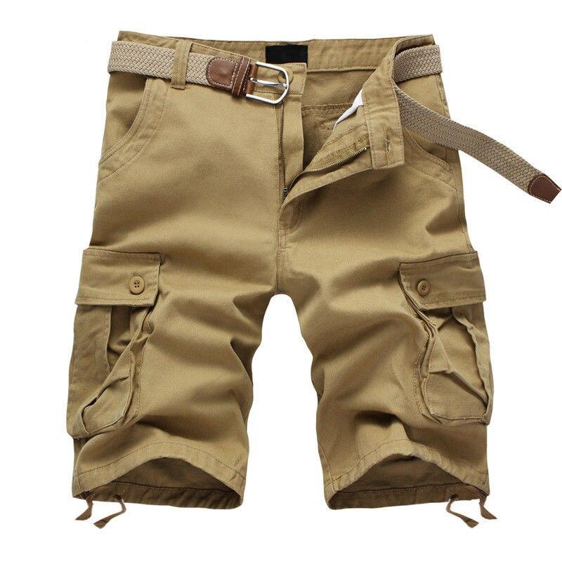 2020 Summer Men's Baggy Multi Pocket Military Cargo Shorts Male Cotton Khaki Mens Tactical Shorts Short Pants 29-44 No Belt