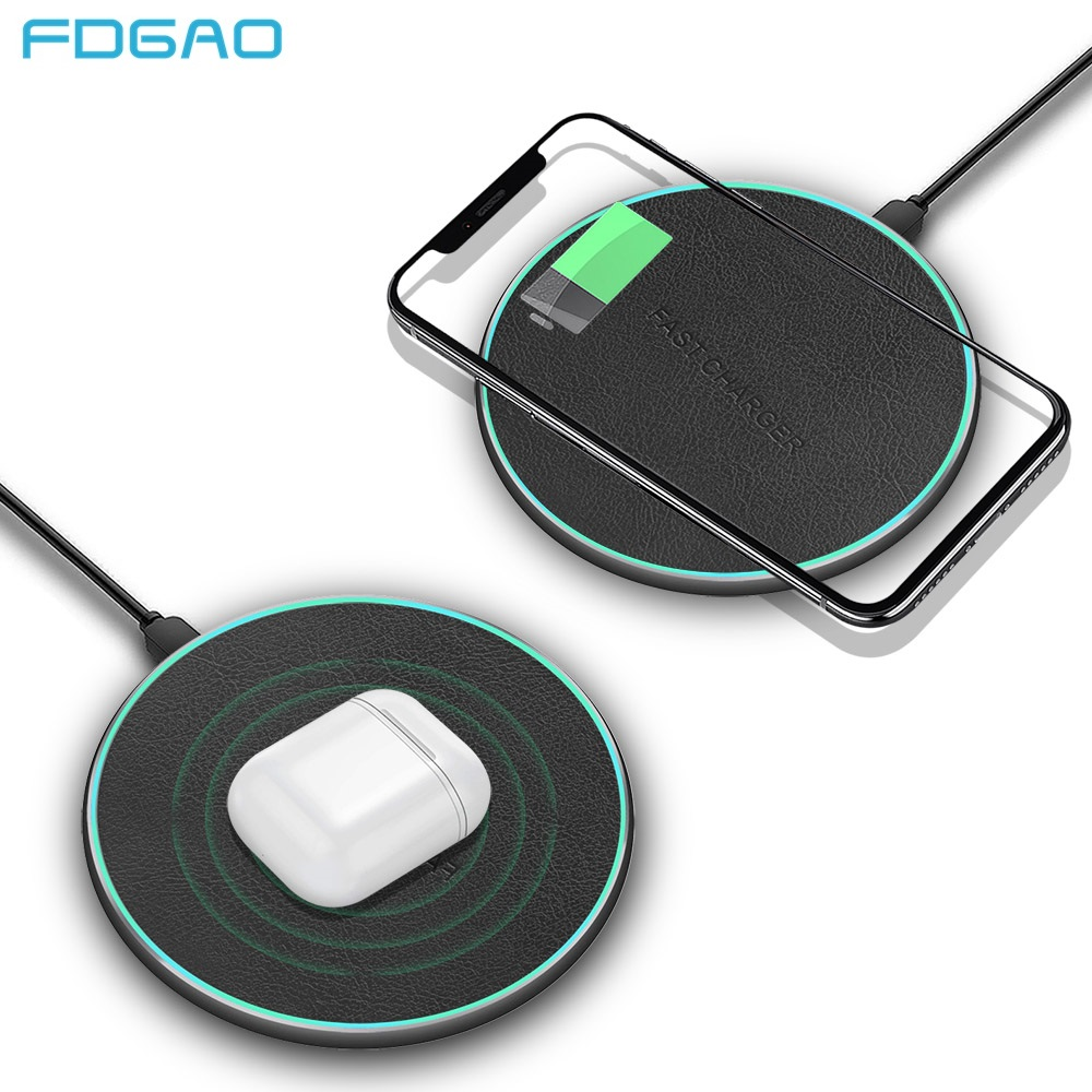 FDGAO 10W Wireless Charger For iPhone X/XS Max XR Samsung S10 S9 Note 9 8 Fast wireless charger Qi Charging Pad Leather