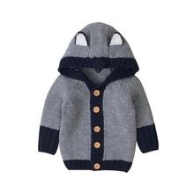 Coat Sweater Cardigan Hooded Knitted Baby-Girl Boys Winter Cute Fox Warm Long-Sleeve