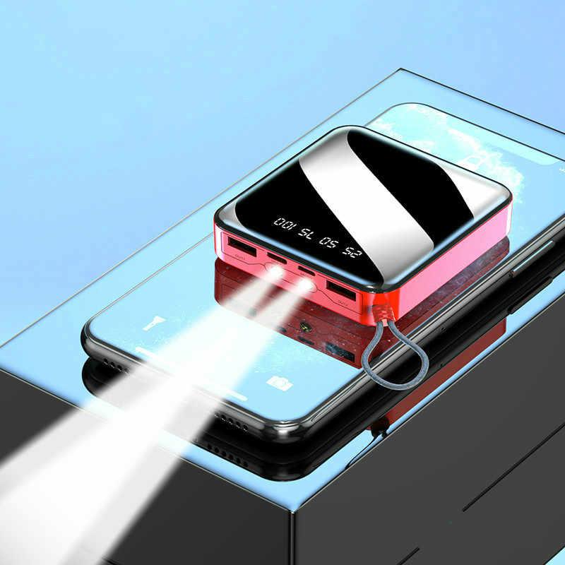 Banco de energía de 20000mAh para iPhone 7, Xiaomi Mi mini banco de energía portátil, cargador de Banco portátil con dos puertos Usb, batería externa