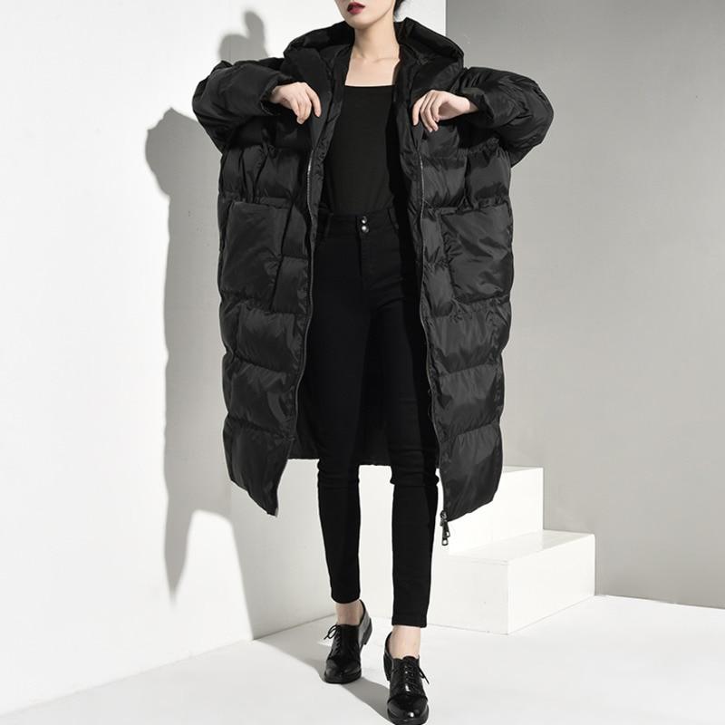 LANMREM Stocks mode capuche Oversize double poches veste d'hiver 2019 femme fermeture éclair manches longues coton rembourré JD121-in Parkas from Mode Femme et Accessoires    1