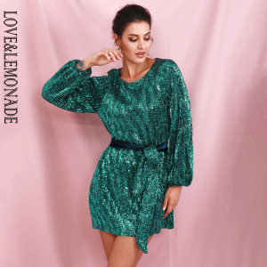 Image 1 - LOVE&LEMONADE Green Loose Lantern Sleeve Pleated Sequins Mini Dress (With Belt) LM82165