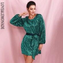Miłość i lemoniada zielona luźna latarnia rękaw plisowana cekiny Mini sukienka (z paskiem) LM82165