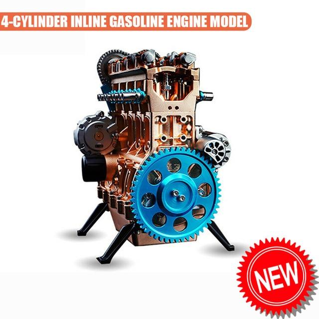 4-cylinder Inline Gasoline Engine Model Building Kits Full Metal Assembled Toy Y