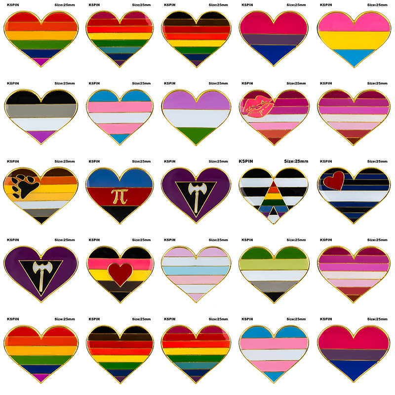 Rainbow Heart Shaped Pride Badge Symbol Pin Metal Badges Decorative Brooch Pins for Clothes Brooch Jewelry