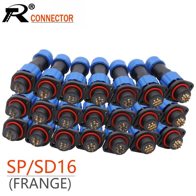Prise d'aviation à bride SD16, 10 ensembles/lot, étanche IP68, mâle + femelle, 2/3/4/5/6/7/9 broches, IP68, connecteur SP16 M16 16mm