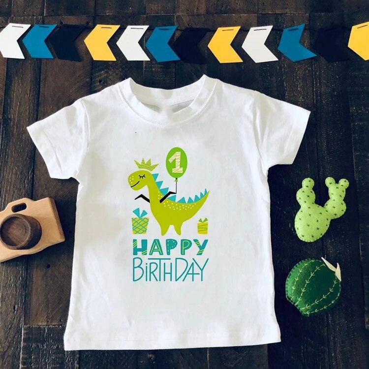 Boys Cartoon Dinosaur Birthday Shirt Kids Dino Print T Shirt For Boys Children Happy Birthday Dinosaur Number 1 9th T Shirts T Shirts Aliexpress