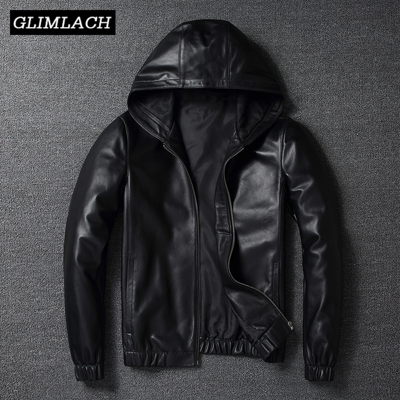 Motorcycle Genuine Leather Bomber Jacket Men Pilot Sheepskin Real Leather Jacket Hooded Aviation Flight Slim Male Lambskin Coat